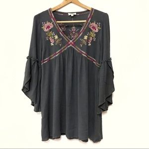 Umgee Embroidered Floral BOHO Bell Sleeve Dress S